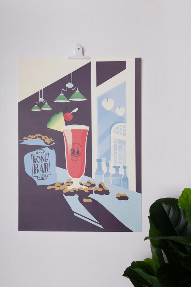 ロングバーと<br>シンガポールスリングのポスター/Long Bar Singapore Sling Poster