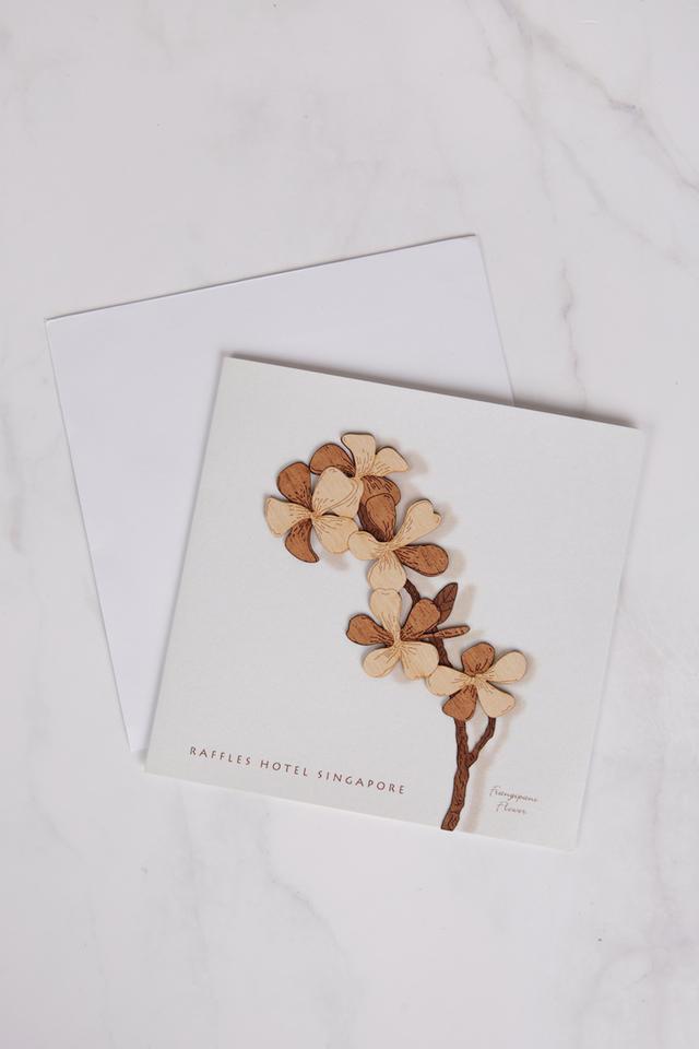 Wood Cut Frangipani Greeting Card