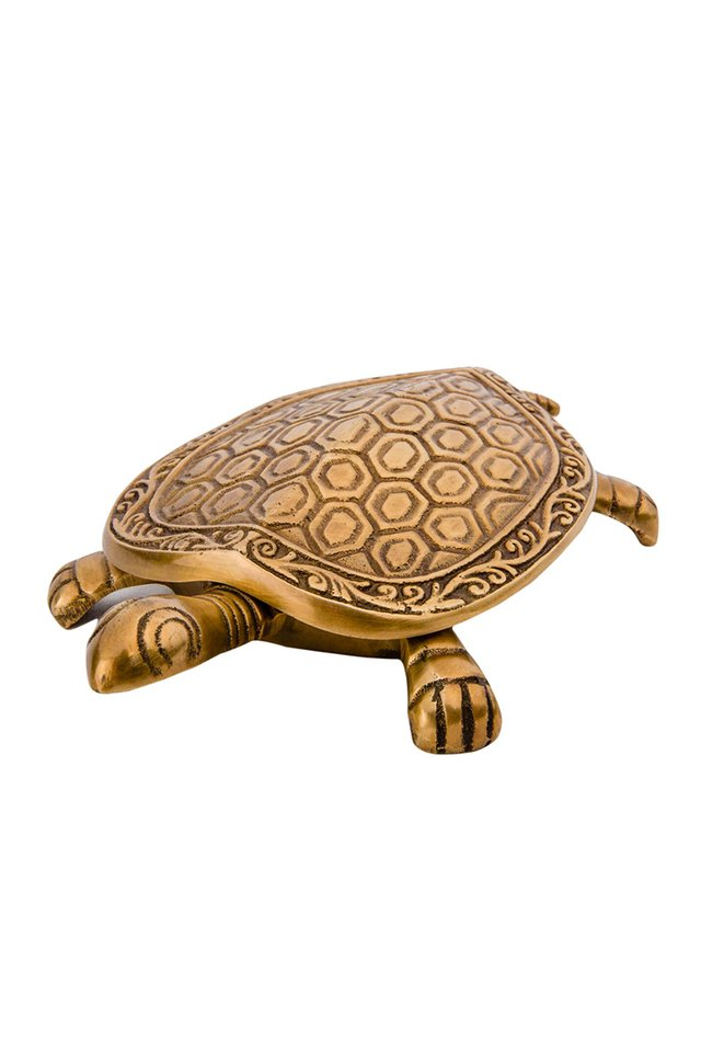 Artisanal Brass Turtle Trinket Box