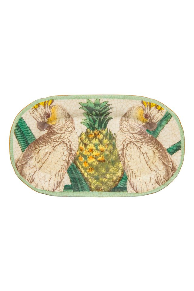 Artisanal Porcelain Dish with Botanical and Bird Pattern