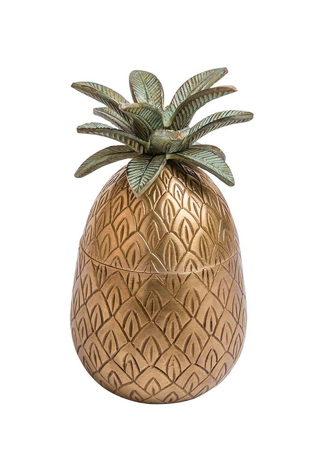 Artisanal Brass Pineapple Container