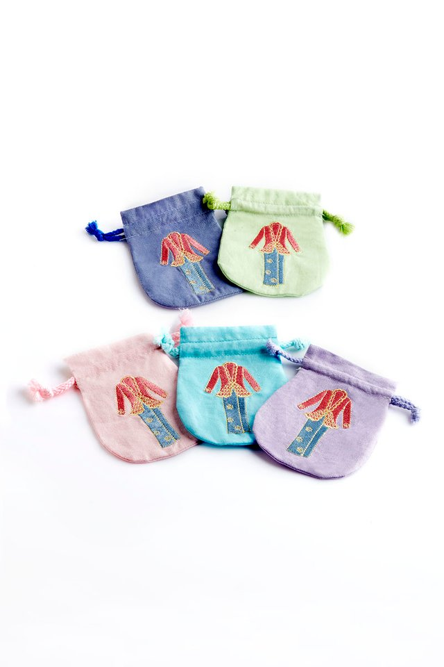 Embroidered Peranakan Small Linen Draw String Pouch