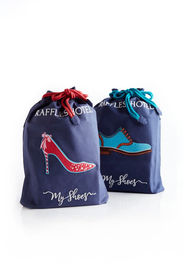 Raffles Hotel Embroidered Draw String Shoe Bag