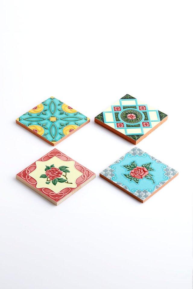 プラナカン風手作りタイルのコースター/Peranakan Handmade Tile Coasters