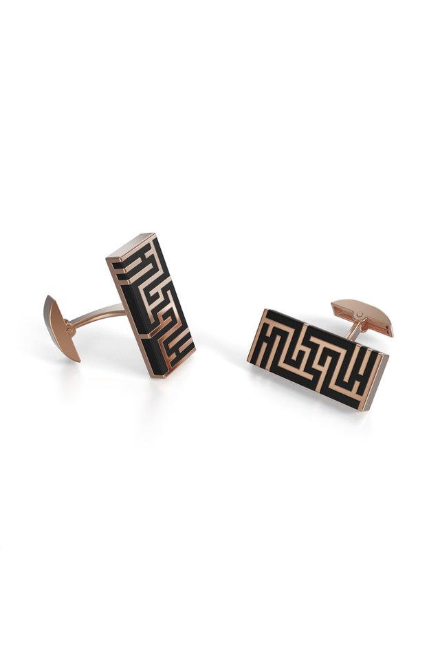 Ban Zu Cufflinks - 18K Rose Gold Vermeil - Obsidian Black